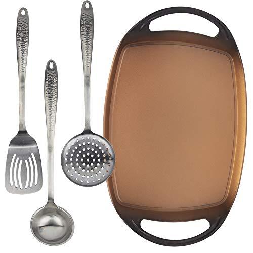 San Ignacio Origen Set plancha asador 36x1,7 cms y 3 utensilios de cocina, Acero Inoxidable