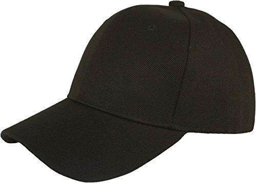 Jh Sports Baseball Cap for Men and Women - Adjustable Plain Unisex Hat Black