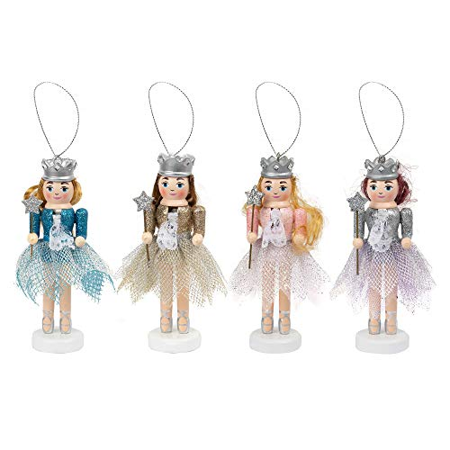FUNPENY 5' Christmas Decorative Nutcracker, Set of 4 Glitter Queen Ballet Dancer Handmade Wooden Traditional Nutcracker, Classic Festive Collectible Nutcracker, Winter Tabletop Christmas Decorations