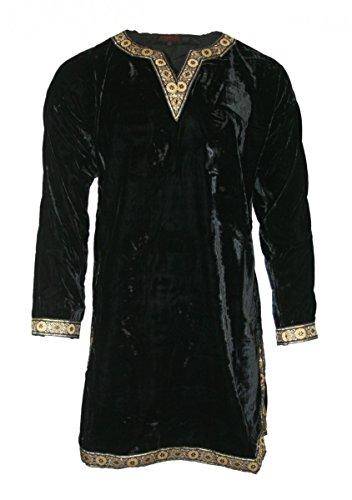 Dark Dreams Gothic Mittelalter LARP Samt Tunika Hemd Waffenrock schwarz rot Wotan, Farbe:schwarz, Größe:L