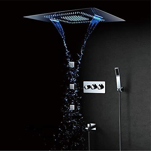 BILLY'S HOME LED Regendusche Wasserhahn Set, Große Regendusche mit Wasserfall Deckeneinbau Multifunktions Duschkopf 800 × 600mm