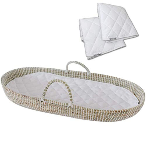 Product Image of the Baby Changing Basket Handmade Seagrass Basket - with 2 Fairtrade Soft Organic...
