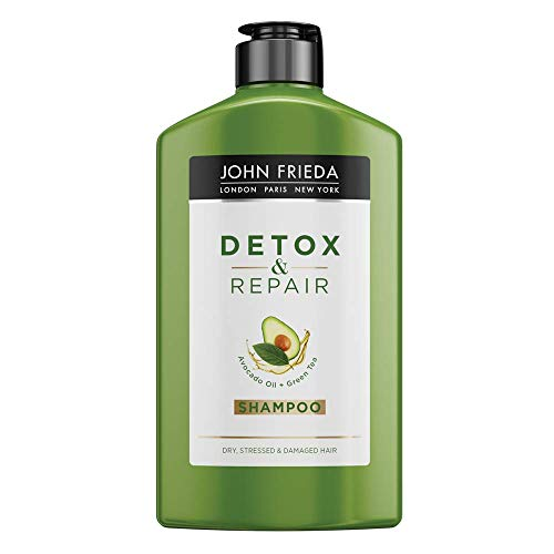 John Frieda Detox & Repair Shampoo for Dry, STRESSED & Damaged Hair with Avocado Oil and Green Tea, 250 ml