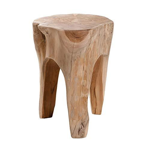 Meubletmoi - Taburete redondo de madera de teca natural – Estilo bohemio Chalet Chic – Wood
