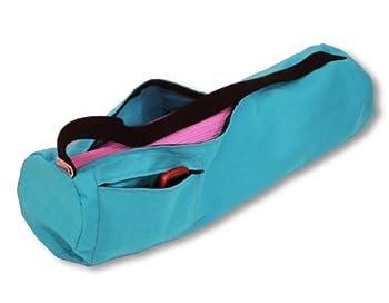 Aqua Cotton Mat Bag - 8  Round x 32  Long - Easy Open Zipper - Extra Large -  fits Manduka + Jade  - Made in USA