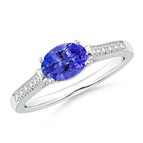 Cyber Montag bieten–East West Set oval Tansanit Solitaire Ring mit Diamant Akzente