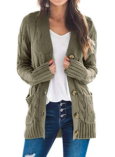 Acelitt Womens Ladies Casual Winter Cozy Warm Button Up Long Sleeve Ribbed Open Front Cable Knit Sweater Cardigan Jackets Coat with Pockets Green XXL