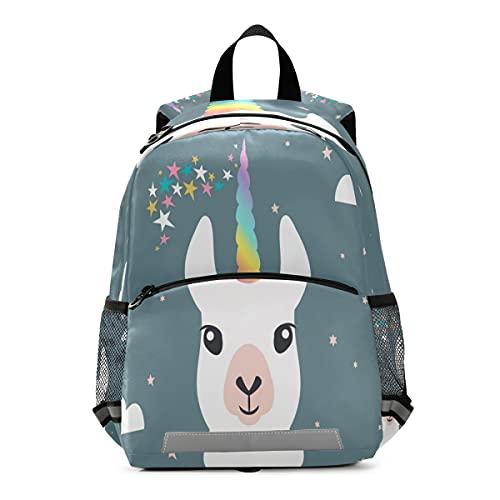 Mochila para niños con diseño de unicornio y llama
