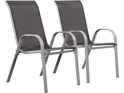 Juego de 2 sillas jardín Textileno Cordoba - Phoenix - Gris oscuro