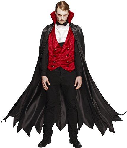 Fever, Herren Vampir Kostüm, Weste, Umhang und Krawatte, Größe: L, 29991