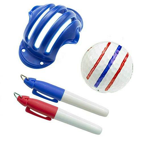 LOPP Golf Ball Triple Track 3 Line Marker Stencil, ERC Chrome Soft Odyssey, Golf Ball Alignment Tool, Golf Ball Liner Line Marker Clip + 2 Line Marker Pens Blue