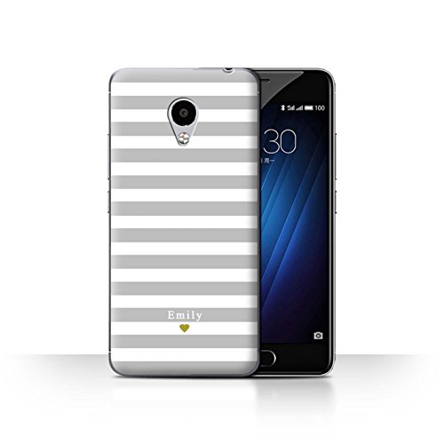 Stuff4Phone Case/Cover/Skin/mzum3s/Custom Stripes/Striped Collection Coeur Argent/Gris
