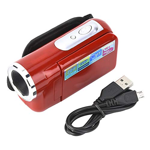 Oferta de Liujaos Cámara de Video Digital TFT LCD Sceen, grabadora de videocámara de fotografía, Regalo de cumpleaños 16X HD para Correr, Uso al Aire Libre para Ciclismo(Red, Black)