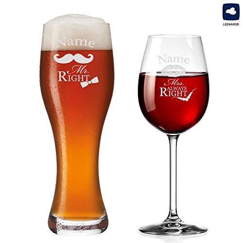 polar-effekt Weizenglas und Weinglas Personalisiert mit Gravur - Mr. & Mrs. Always Right mit Schnurrbart & Kussmund - Geschenk zur Hochzeit für Paare