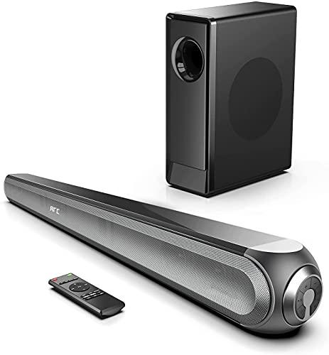 【Dolby Audio】 Soundbar con Subwoofer 240W, 3D Surround Soundbar per TV, 0,5% THD, con Subwoofer Wireless, Bluetooth 5.0, Funziona con HDMI ARC/Ottico/RCA/AUX Perfetto Home Theater