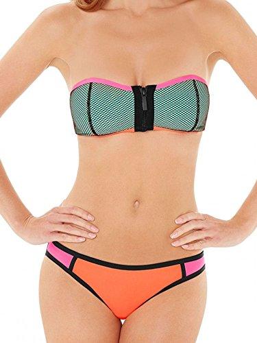 Lepel Surf Fressia Multicoloured Zipped Bandeau Bikini Top 155964 10 UK