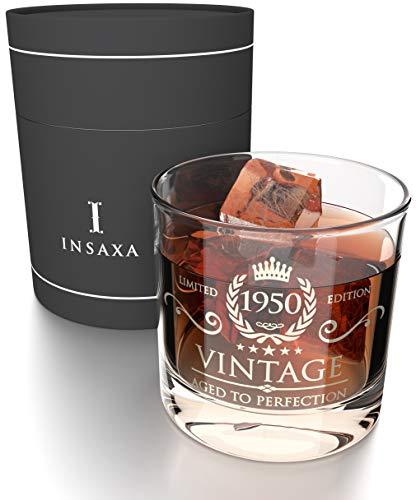 Insaxa Regalos de 70 Cumpleaños para Hombres y Mujeres. Vaso de Cristal para Whisky Vintage 1950 (380ml)