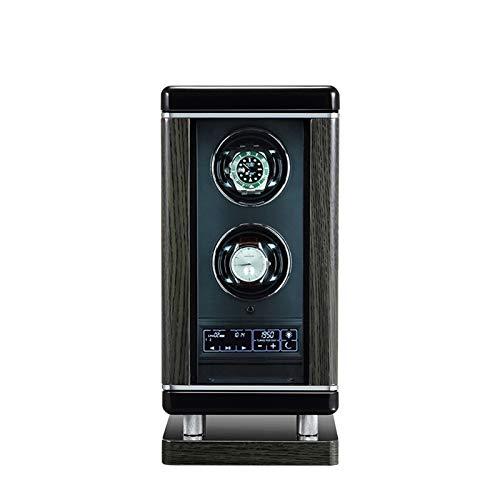 ZCXBHD Estuche Relojes 2 Automatico Relojes Interruptor de Huella Digital Inteligente con Mando A Distancia Pantalla de Control Iluminación LED Motor Silencioso 6 Modos de Rotación
