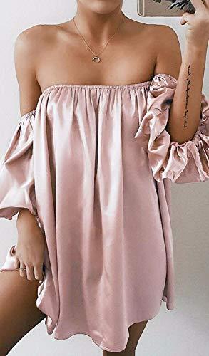 MEILINVREN Kleider,Art Und Weise Beiläufige Frauen-Hemden Kleiden Rosafarbenes Elegantes Weg Vom Schulter-Kleid-Kurzen Sommer Vestidos Feiertags-Kleid-Frauen,Foto-Farbe,S An