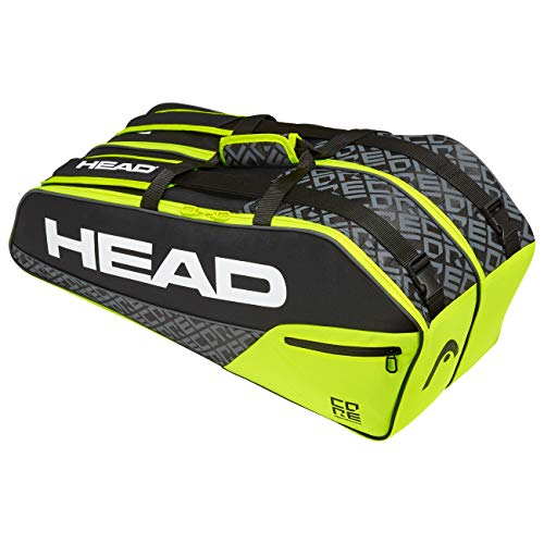 Head Core 6R Combi Bolsa de Tenis, Adultos Unisex, Nero/Neon Amarillo