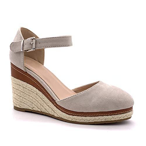 Angkorly - Chaussure Mode Sandale Espadrille lanière Cheville Plateforme Femme Corde tréssé lanière Talon compensé Plateforme 9 CM, Beige 3, 38 EU