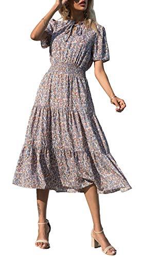 BTFBM Women Boho Floral Print Casual Dress Summer Sexy Tie V Neck Short Sleeve Vintage Elastic A-Line Beach Midi Dresses (Floral Blue, Large)