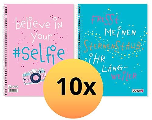 Landre 400130281 - Cuaderno con dos frases divertidas, 10 unidades, A4, 80 hojas, a rayas, con margen a izquierda y derecha