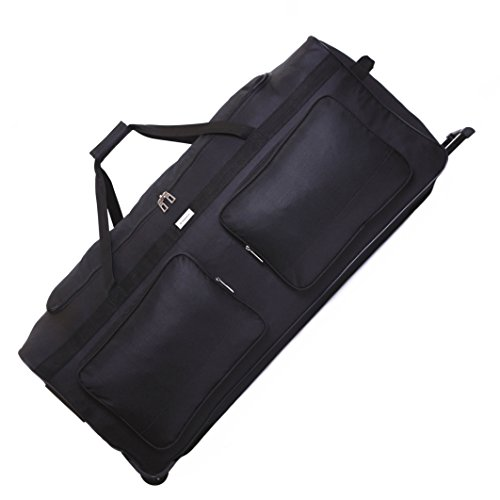 Karabar Große 34 Zoll Reisetasche Rollenreisetasche XL Trolley Gepäcktasche mit Rollen - 140 Liter 86 cm 2,5 kg Faltbare auf 3 Rädern & Trolleyfunktion Teleskopgriff, Empress Schwarz