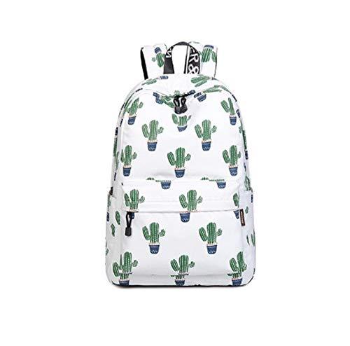 Rugzak YSJ Laptop Tas, 14-15.6 Inch Laptop Vrouwen Waterdichte Cactus Printing Book Bag Vrouwelijke School Bagpack Voor Tieners Meisjes (Groen)