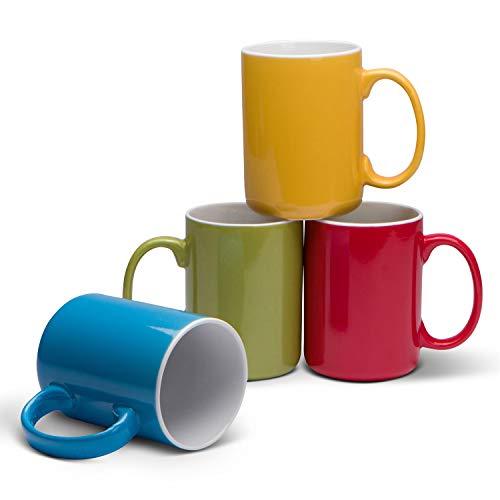 Serami 17oz Classic Color Mugs for Coffee or Tea. Large Handles and Ceramic Construction, Set of 4