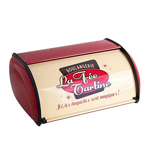 Sziqiqi Contenedor de Pan para Encimera de Almacenamiento de Caja Pan Vintage 33cm con Tapa Enrollable y Ribete Protector para Mantener Bollos Pan Galletas Muffins Horno Bueno Fresco y Sabroso, Rojo