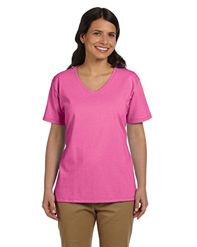 Hanes Relaxed Fit Women's ComfortSoft V-neck T-Shirt,Pink,XXX-Large