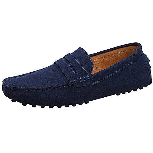 Jamron Hombres Cuero de Gamuza Penny Mocasines Comodidad Zapatos de Conducir Plano Pantuflas Azul Marino 2088 EU47
