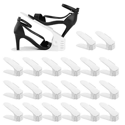 BIGLUFUSet de 20pcs Organizadores de Zapatos, Soporte de Calzado de Altura Ajustable, Zapatero Simple, Adecuada para Mujeres y Hombres, Ahorra Espacio (Blanco)