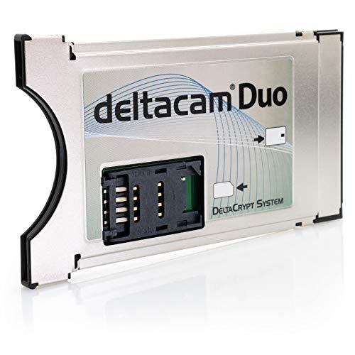 Deltacam Duo Twin CI Modul I Common Interface Karte mit DeltaCrypt-Verschlüsselung 3.0 für Empfang verschlüsselter Sender inkl. SIM Kartenleser I DVB CI-konforme PCMCIA CI-CAM für Smart Cards TV