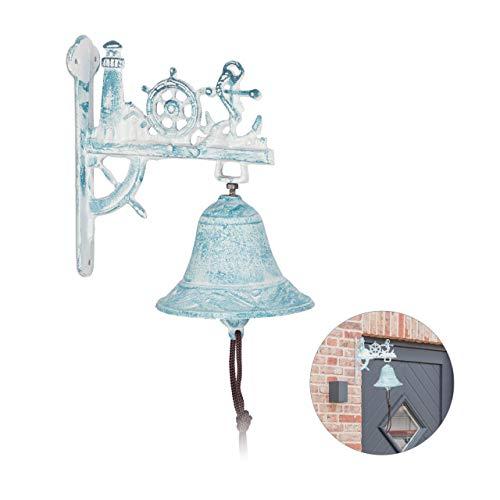 Relaxdays Türglocke maritim, Leuchtturm, Steuerrad, Anker, Glocke mit Kordel, Wandglocke, rustikal, Gusseisen, weiß/blau