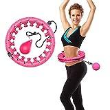HOKCO フラフープ ダイエット 室内 ヨガフーラ フィットネス トレーニング 360°全周マッサージ 脂肪燃焼 大人 子供用 24リングサイズ調整可能 自宅 人気プレゼント (ピンク)