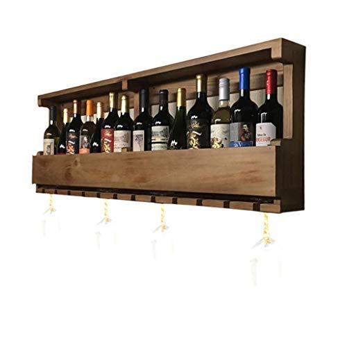 Bandeja de almacenamiento Tenedor de vino de madera soportes de pared Vintage Vino Tenedor de la botella de la pared montado en la pared Soporte de vino rústico Estante de pared Organizador de almacen