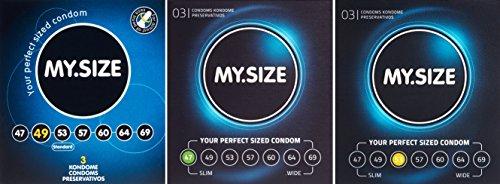 My.Size Lot de 3 boîtes de préservatifs taille 3 x 3 pièces - 47, 49, 53mm (un total de 9 préservatifs)