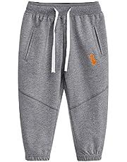 Pesaat Pantalones de chándal para niños, pantalones largos de algodón para niños, transpirables, elásticos, en gris, 3-8 años