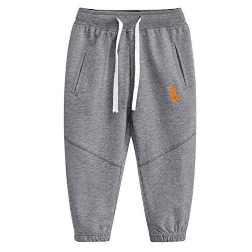 Pesaat Jungen JogginghoseKinder Sporthose Jungen Kinder Hose Jogging Baumwolle Atmungsaktiv in Grau 3-8Jahre (Grau, 130)