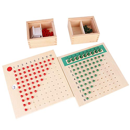 Danni Montessori Baby Early Wood Math Teaching Aids Multiplication & Division Math Educational Toys Beads Board Red Green Learning Toy