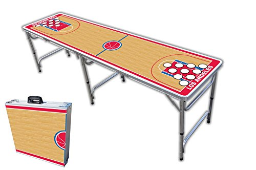 Find Discount 8-Foot Professional Beer Pong Table w/Holes - Los Angeles 2 Basketball Court Graphic