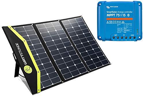 WATTSTUNDE Sunfolder Solartasche - Mobiles 12V Outdoor Solarpanel - faltbares Solarmodul mit Laderegler und Batterieanschlusskabel (180W mit Victron 75/15 MPPT)