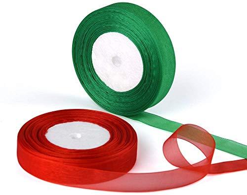 Cinta de Organza, Rollo de Cinta de Satén 2 Paquetes de Cintas Decorativas de Brillo de 20 mm x 22 m para Envolver Regalos