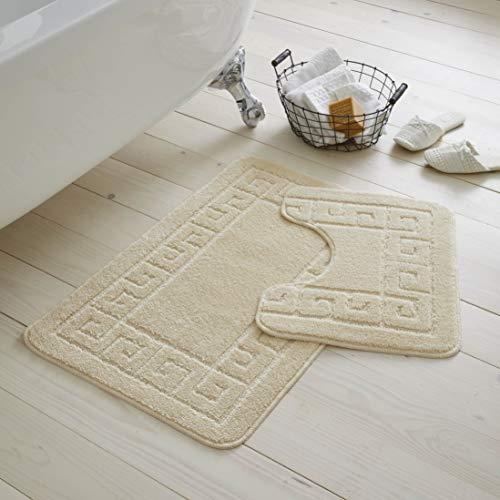 GC GAVENO CAVAILIA Ultra Plush 2 Piece Greek Anti-Slip Bath Mat and...