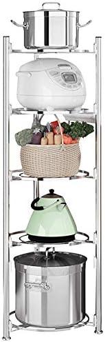 JEPRECO 5 Tier Kitchen Pot Rack Stand Stainless Steel Standing Shelf Unit Adjustable Corner product image