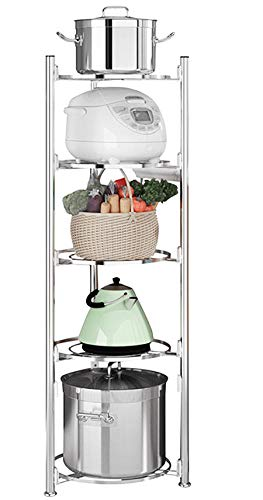 JEPRECO 5-Tier Kitchen Pot Rack Stand  Stainless Steel Standing Shelf Unit Adjustable Corner Organizer for Cookware