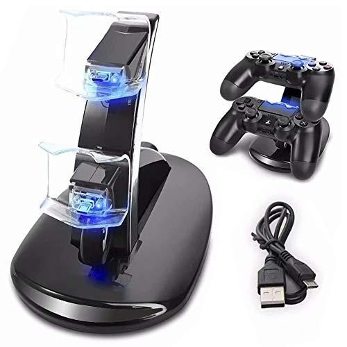 Ozvavzk Ladestation Charger für PS4 Controller, Dualshock Docking Ladegerät Stand mit USB Kabel für 2 Playstation 4 Controllers