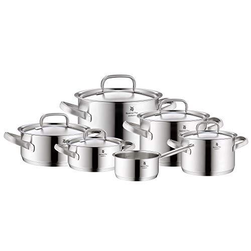 WMF Gourmet Plus Topfset Induktion 6-teilig, Kochtopf Set mit Metalldeckel, Cromargan Edelstahl mattiert, Töpfe Set unbeschichtet, Innenskalierung